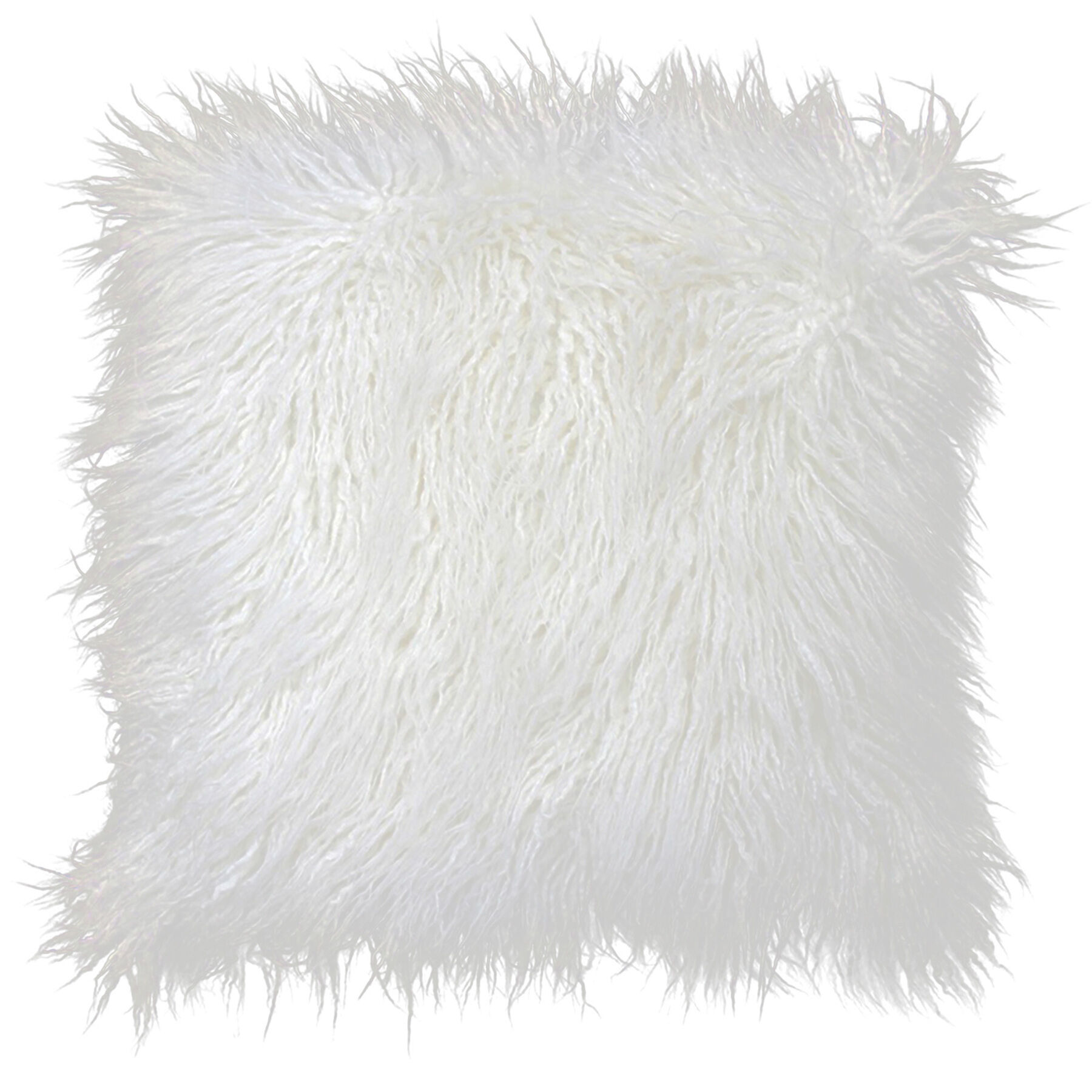 white mongolian fur pillow 18in