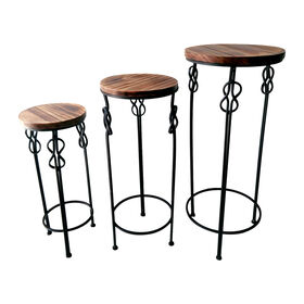 Picture of Small Round Wood & Steel Knot Accent Table