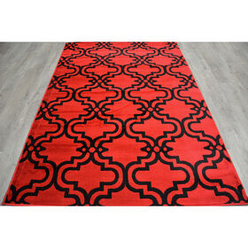 Picture of Red and Black Trellis Rug 5 X 7 ft