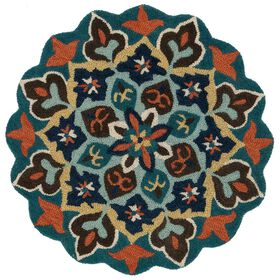 Picture of Teal Multicolor Azalea Round Rug- 3x3 ft