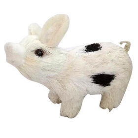Picture of WHITE BLACK SISAL PIG SMALL