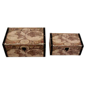 Picture of Large Nested Globe Print Trunk