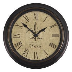 Picture of 16-in Burlap Fleur De Lis Clock
