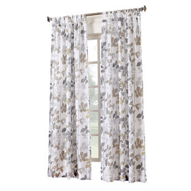 Picture of White Dorado Pattern Tab Top Window Curtain Panel 84-in
