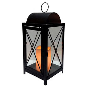 Picture of 13.25-in. Metal & Glass X-style Lantern
