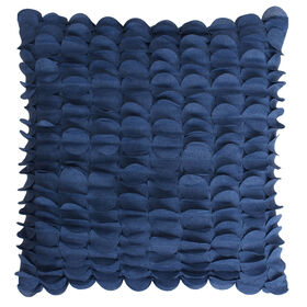 Picture of Indigo Blue Pleated Scallop Pillow- 20-in