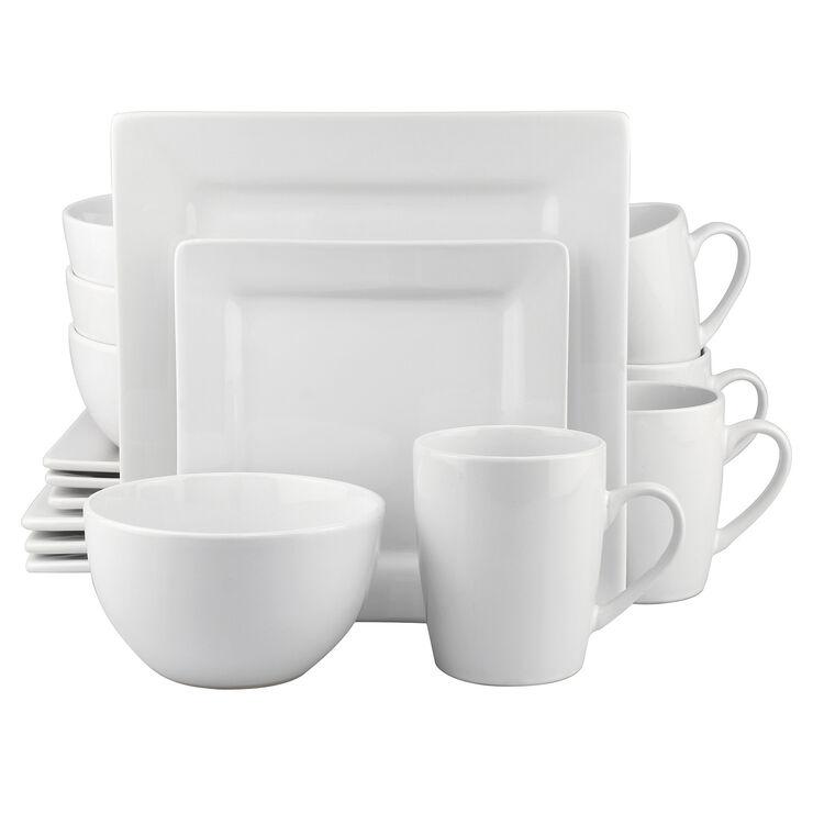 16 PC SQ DINNERWARE SET WHITE