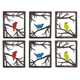 10 x 12 in red blue and yellow bird wall dcor - Bird Wall Decor