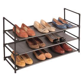 3 tier fabric shelf shoe rack at home. Black Bedroom Furniture Sets. Home Design Ideas