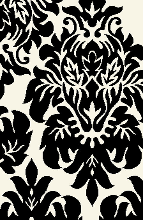 black and white damask rug 3 x 5 ft at home