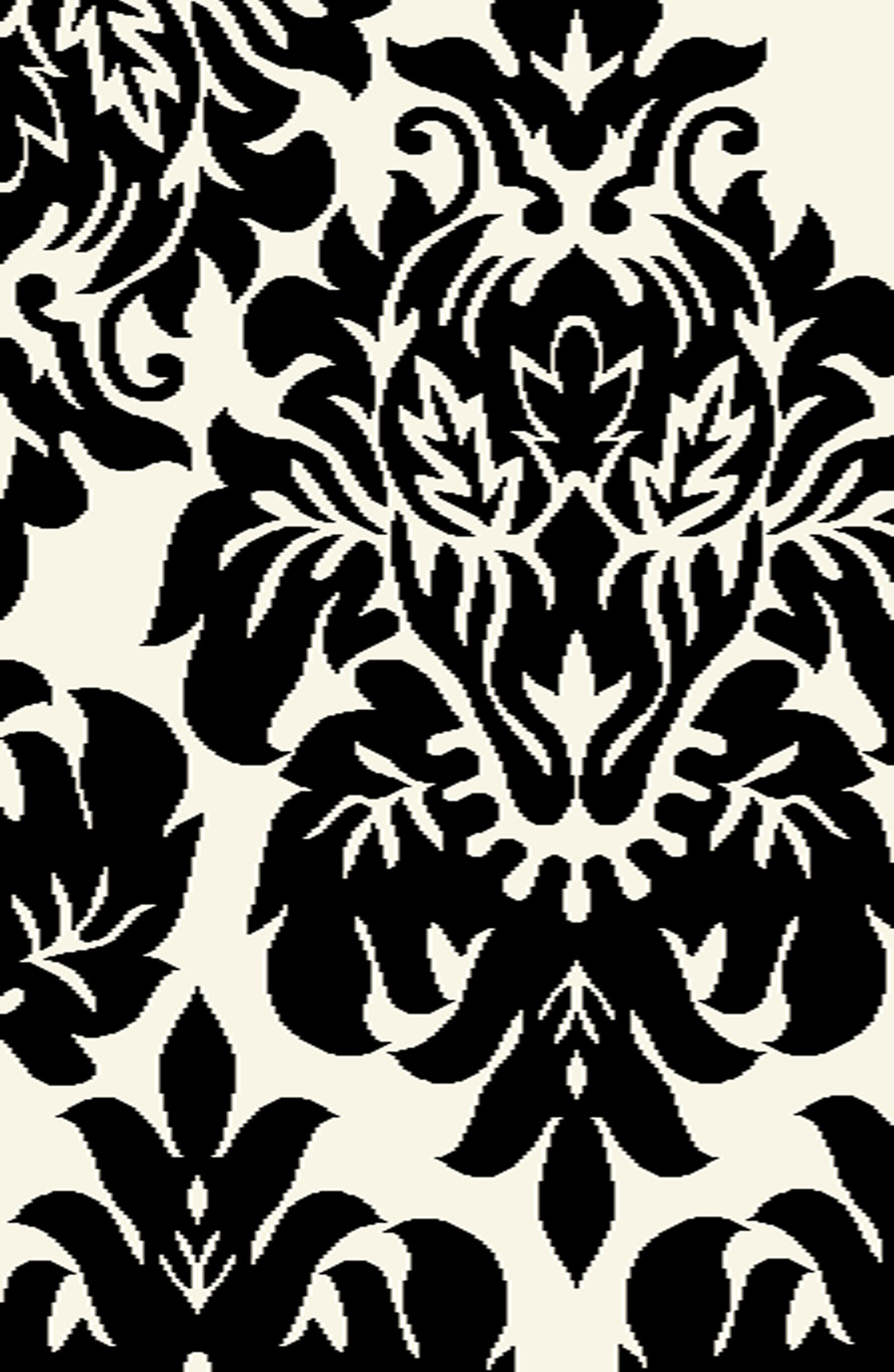 Black And White Damask Rug 3 X 5 Ft