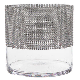Picture of Clear Glass Round Vase with Silver Gems- 7.8-in