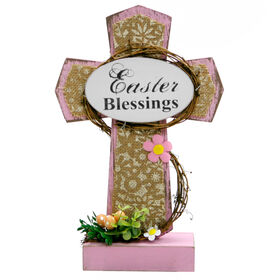 Picture of Pink Easter Wood Cross- 13.5 in.