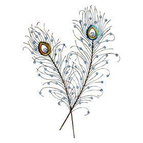 Picture of 24 X 32-in Double Blue Peacock Feather Wall Décor