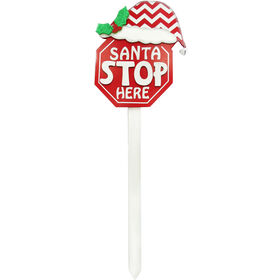 Picture of Santa Stop Here Yard Stake with Santa Hat