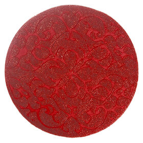 Picture of 14-in. Round Beaded Charger, Red
