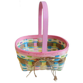 Picture of Large Pink Wood Chip Basket with Burlap