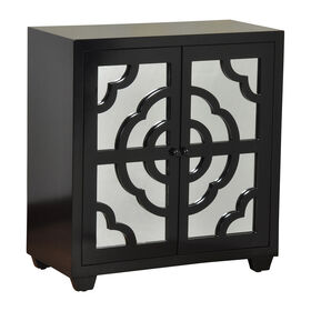 Picture of Black Enameled Mirrored Two Door Cabinet - 30 X 15 in.