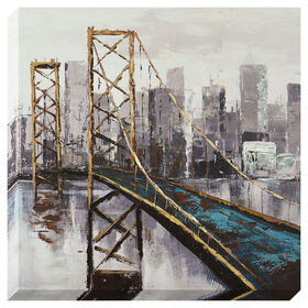 City Bridge Canvas Art- 16x16 in.