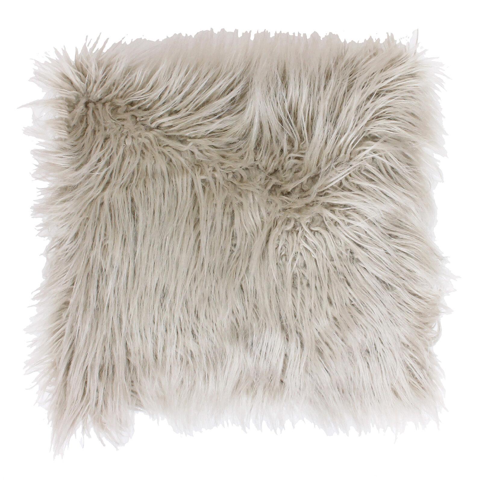 oatmeal mongolian faux fur pillow 26in