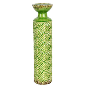Picture of Green Ceramic Geometric Pillar Candle Holder- 4x16 in.