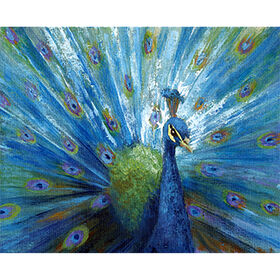 Picture of Blue and Green Peacock Studio Art- 24x36 in.