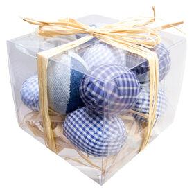 Picture of Blue Burlap Egg Ornaments- 12 Count