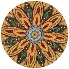 Picture of Savannah Gold Flower Round Accent Rug- 3 ft
