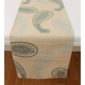 Picture of Teal Sophia Paisley Table Runner