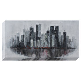 Picture of Hand Painted Cityscape Canvas Art- 24x48 in.