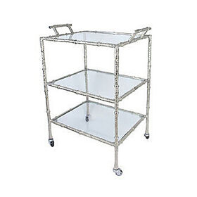 Aluminum Textured 3-tier Bar Cart