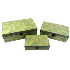 Picture of Medium Green Leaf Print Box