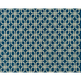 Picture of Indoor & Outdoor Blue and Ivory Geometric Beach Rug 8 X 10 ft