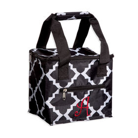 Picture of Monogrammed Quatrefoil Insulated Lunch Tote, Black and White