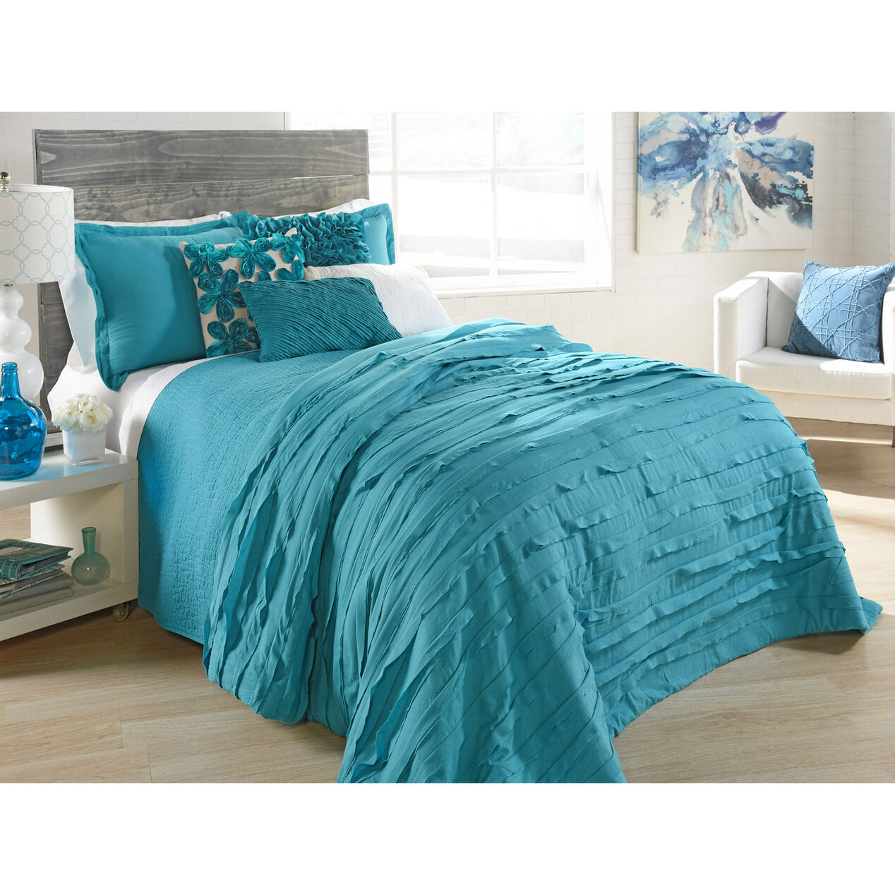 Avery Teal Ruffle Comforter Set Twin At Home