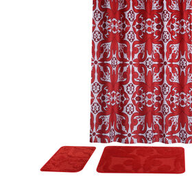 Picture of 15PC BATH SET SCROLL SWIRL RED