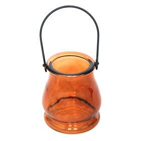 Amber Glass Votive Holder 3.5x4-in