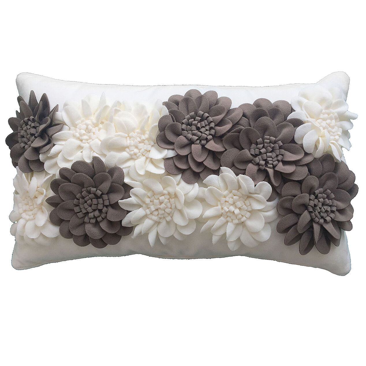 Picture of White Cierra Felt Floral Pillow  14x24 in. At Home   The Home Decor Superstore