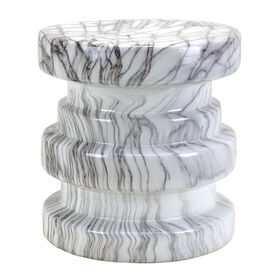 Picture of Ceramic Tier Marble Side Table- 16.75-in