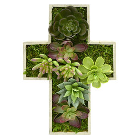 Picture of Succulent Mix in Cross Frame- 12 in.