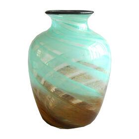 Picture of Aqua & Brown Matte Art Glass Vase- 9.5-in