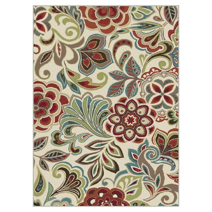 D269 Mulberry and Beige Floral Rug- 3x5 ft