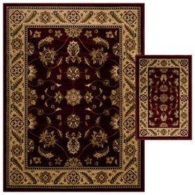 Maroon Traditional 2 pc Woven Rug Set
