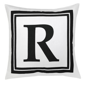 Picture of White and Black Block Letter Pillow - 18 in.