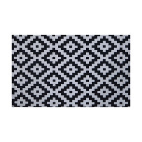 Picture of Black & White Tribal Grid Accent Rug- 20 x 40-in