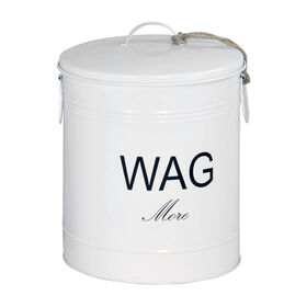 Picture of Wag More White Tin Treat Canister- 11 x 15-in
