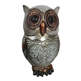 Picture of Silver Mosaic Owl Figurine 7-in