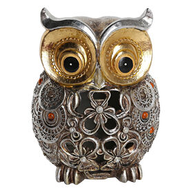 "Picture of 7.4"" Gold and Silver Cutout Owl"