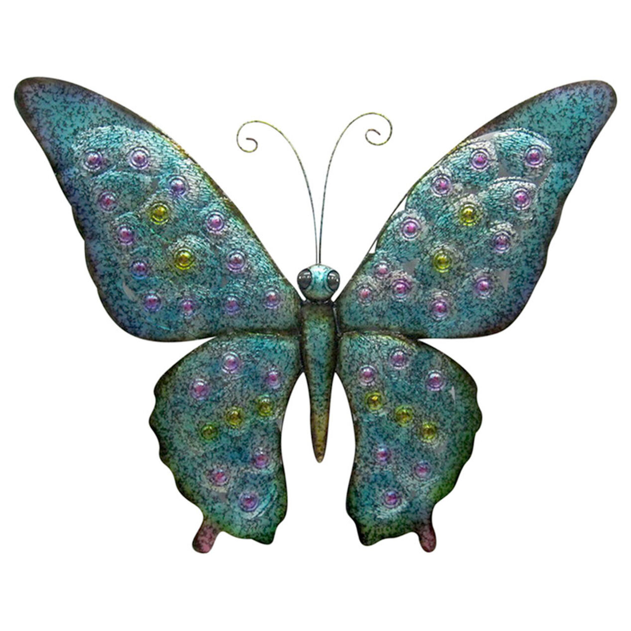 Blue and green metal butterfly outdoor wall decor at home for Outdoor butterfly decor