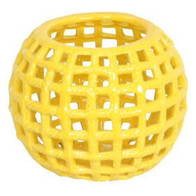 Picture of Yellow Pierced Round Candle Holder 7-in